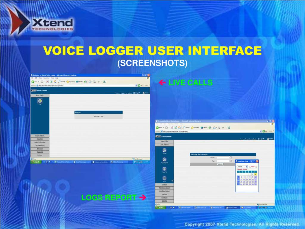 VOICE LOGGER USER INTERFACE