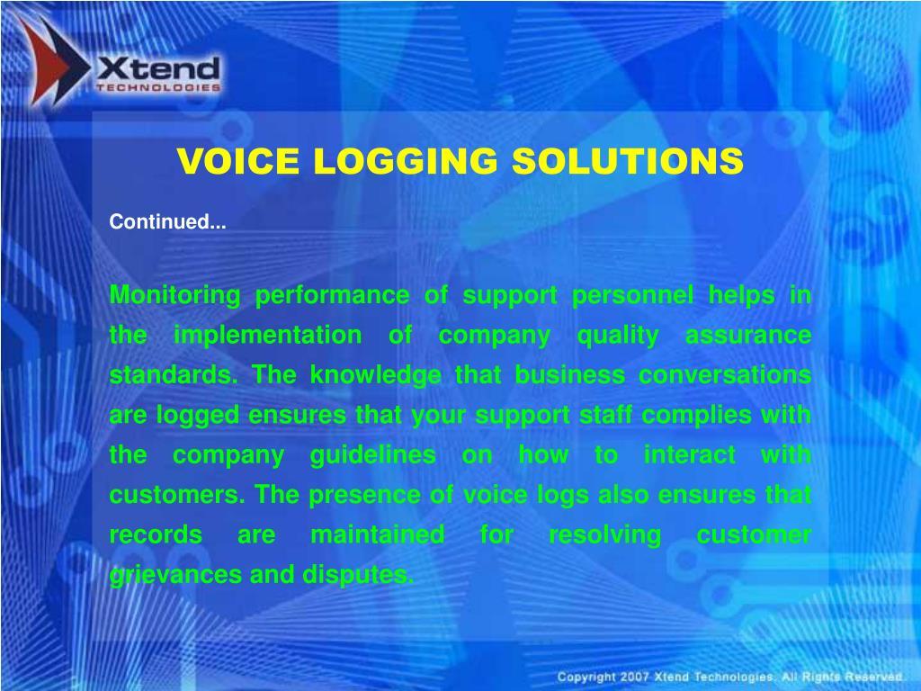 VOICE LOGGING SOLUTIONS
