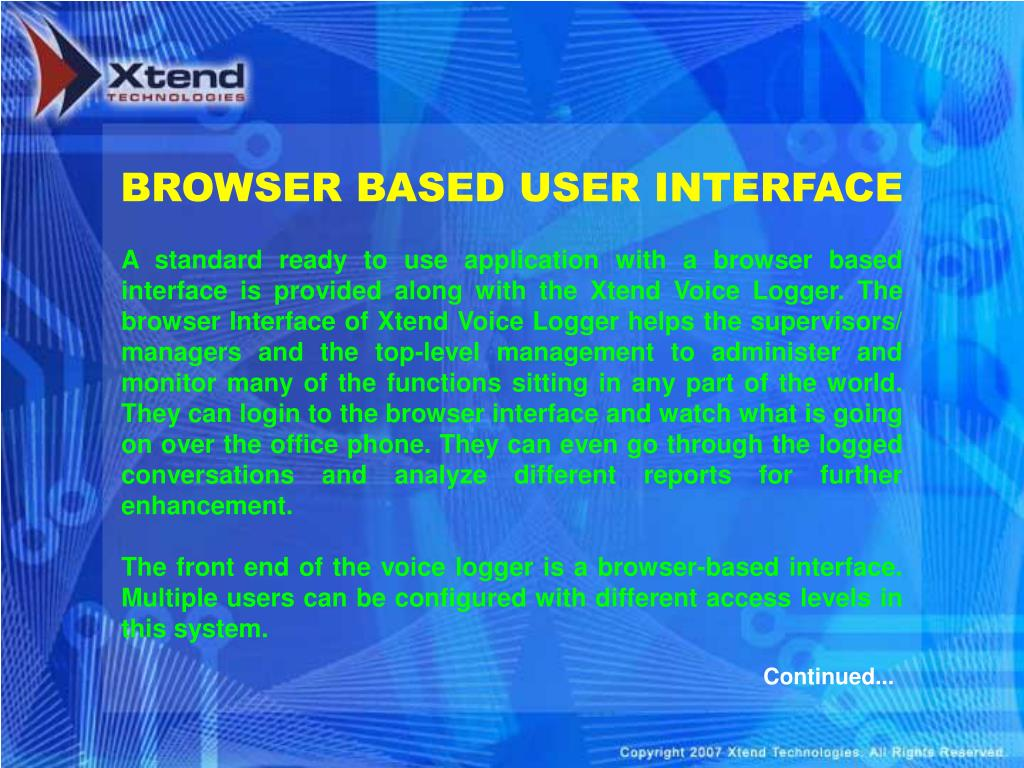 BROWSER BASED USER INTERFACE