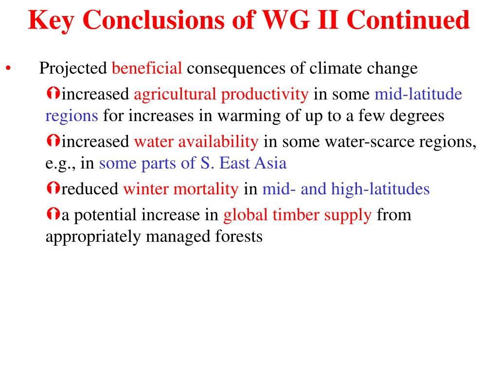 Key Conclusions of WG II Continued