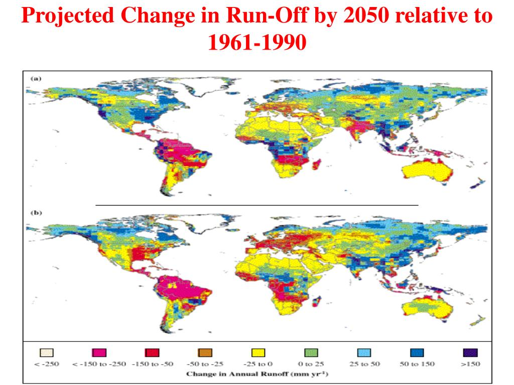 Projected Change in Run-Off by 2050 relative to 1961-1990