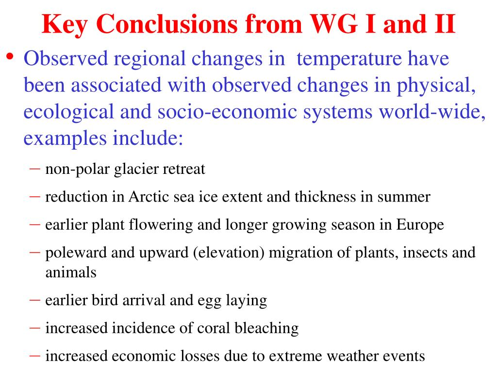 Key Conclusions from WG I and II