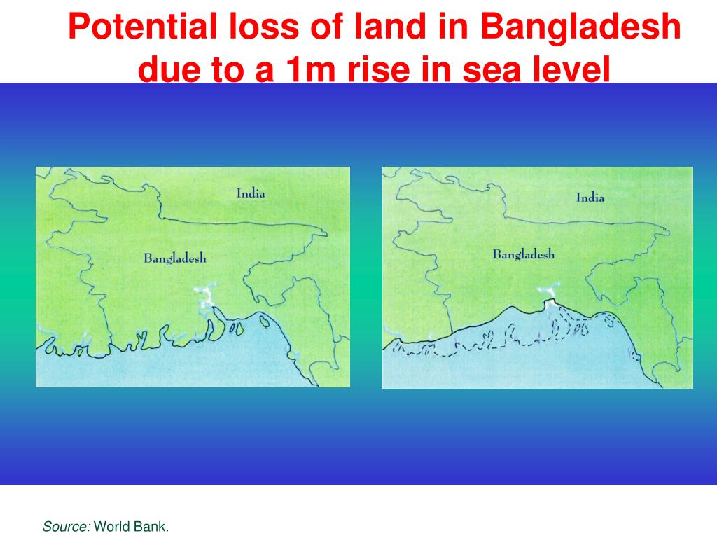 Potential loss of land in Bangladesh due to a 1m rise in sea level