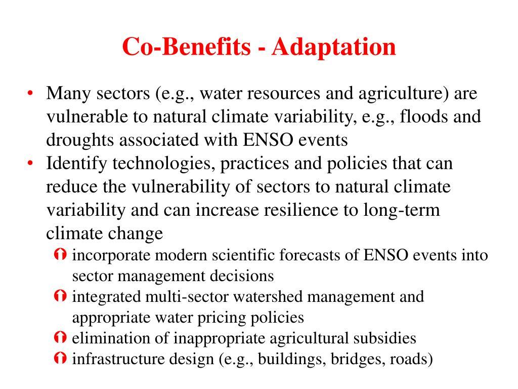 Co-Benefits - Adaptation
