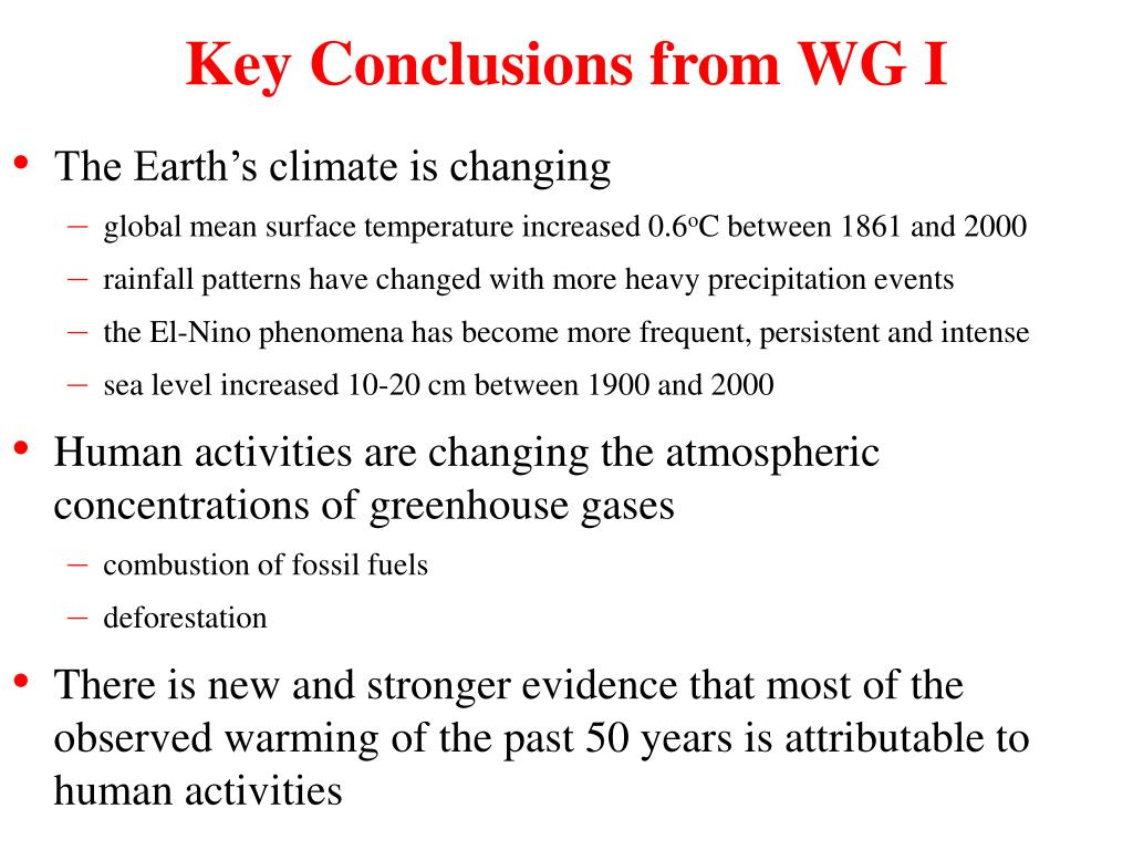 Key Conclusions from WG I