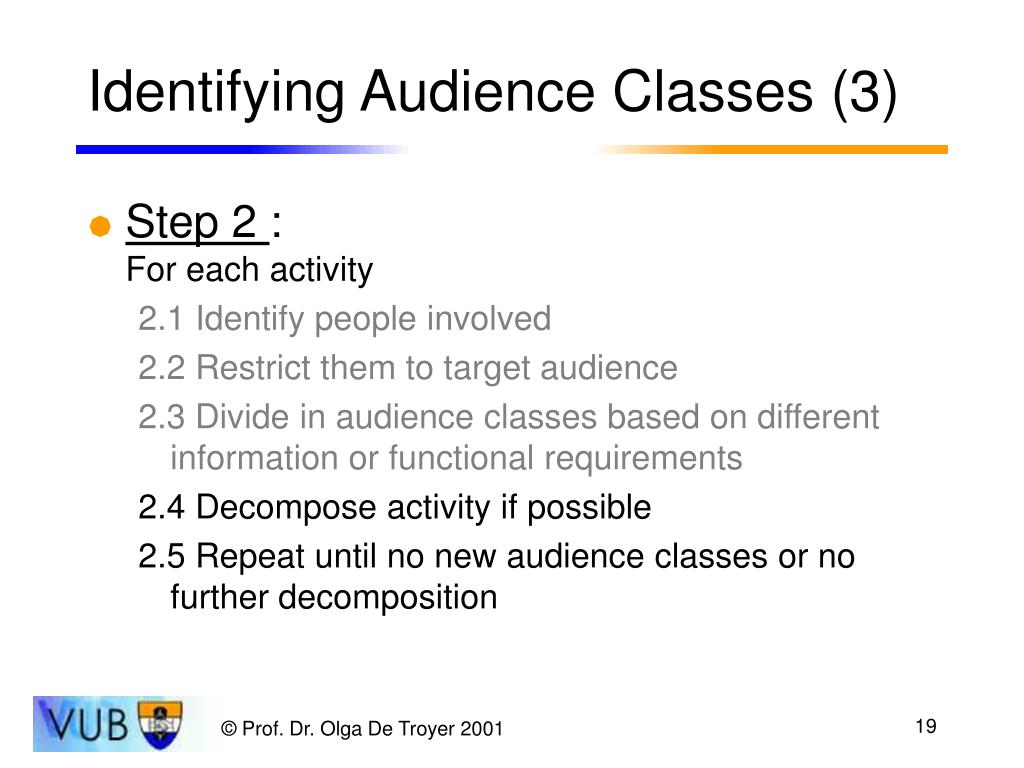 Identifying Audience Classes (3)