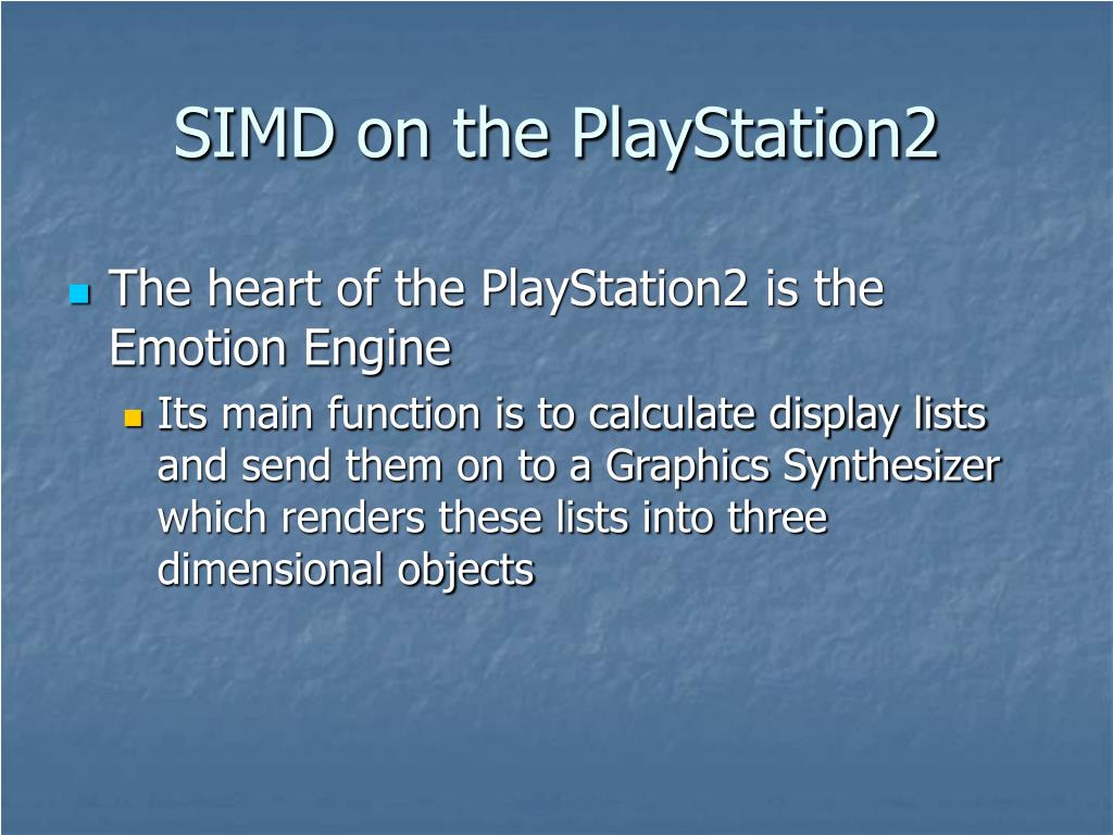 SIMD on the PlayStation2
