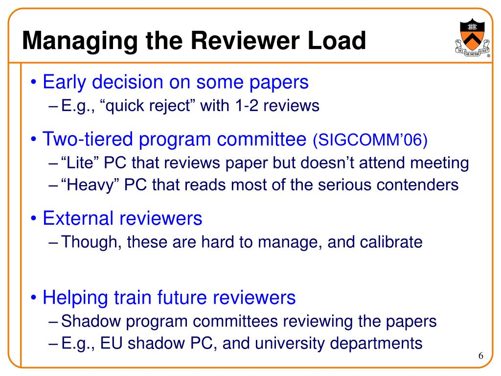 Managing the Reviewer Load