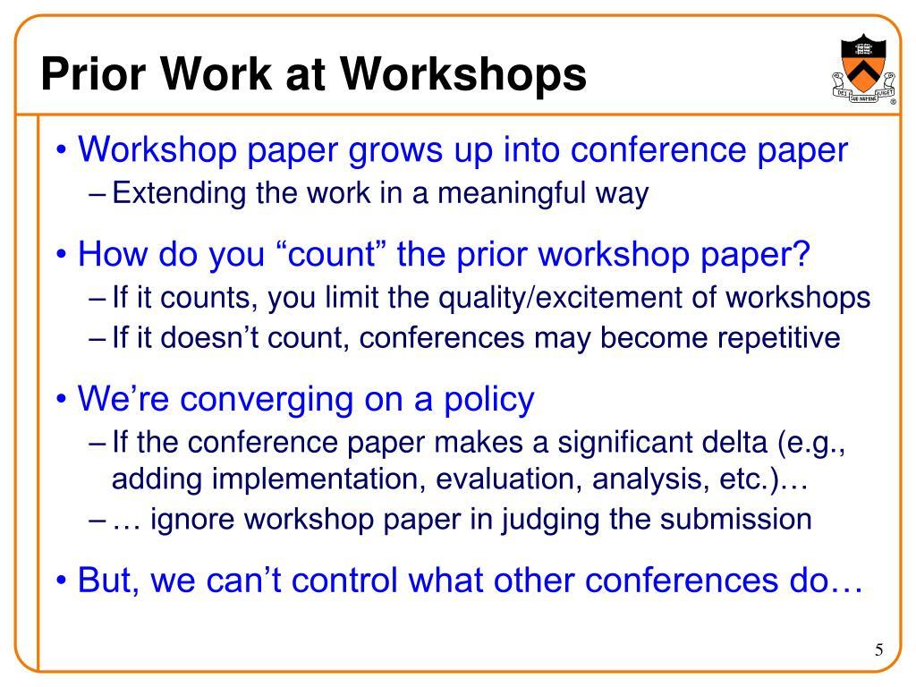 Prior Work at Workshops