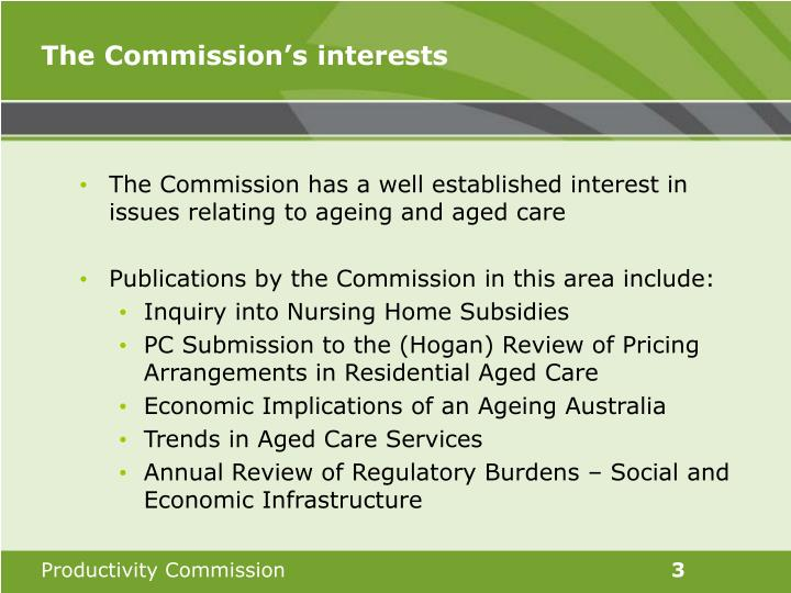 The commission s interests