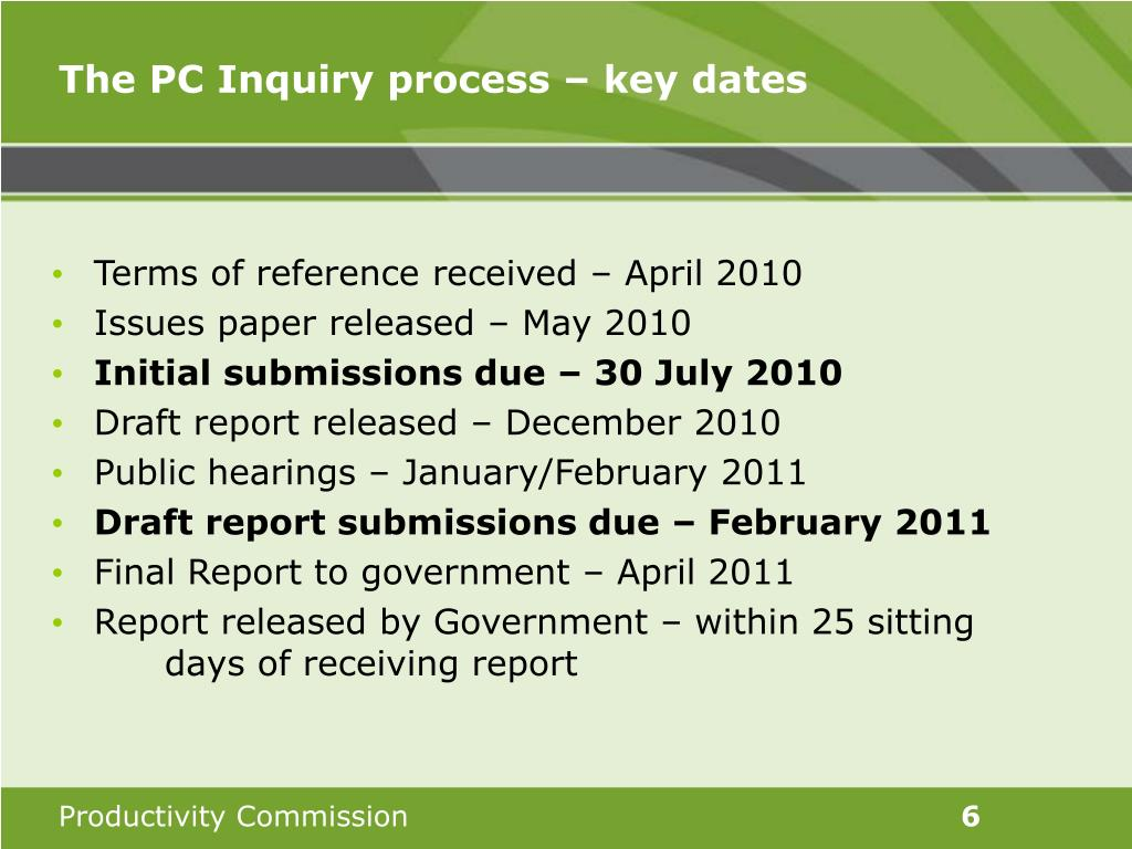 The PC Inquiry process – key dates