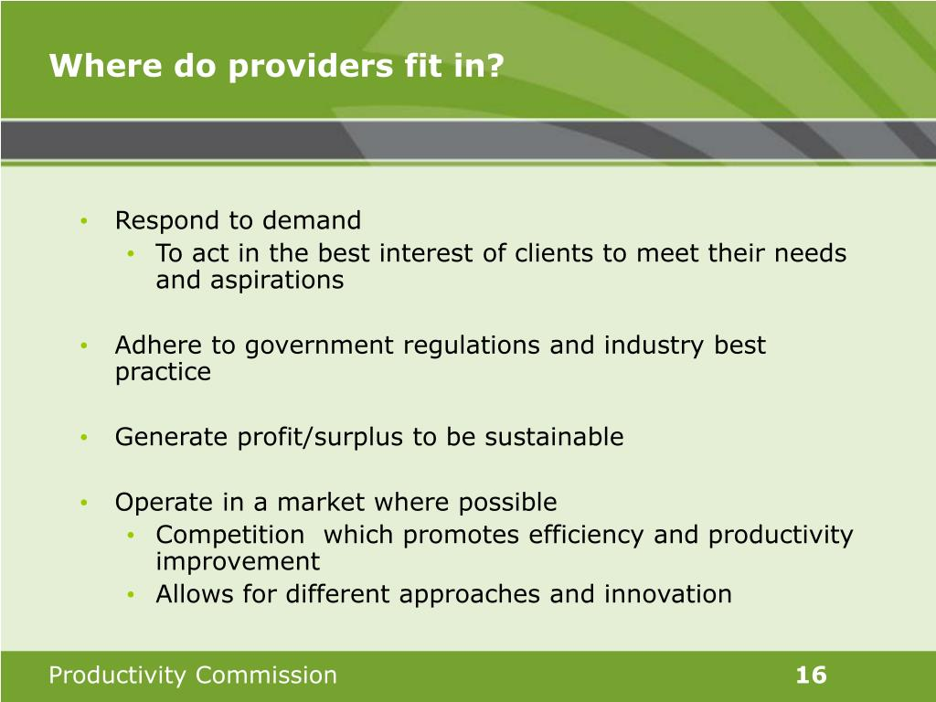 Where do providers fit in?