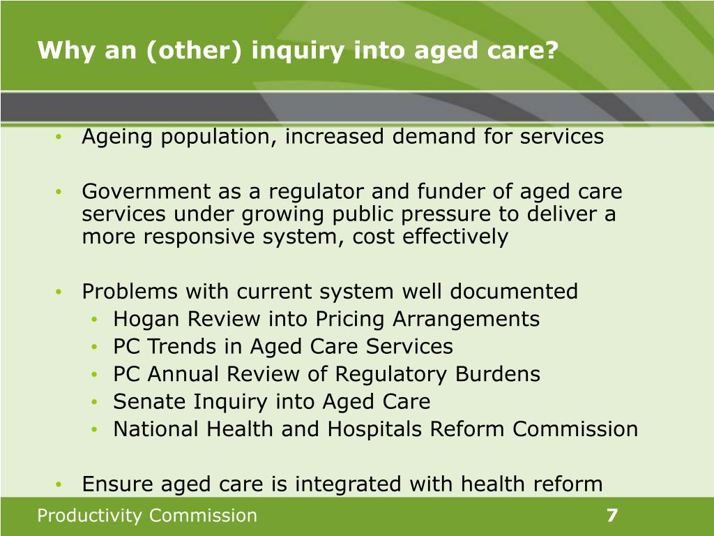 Why an (other) inquiry into aged care?