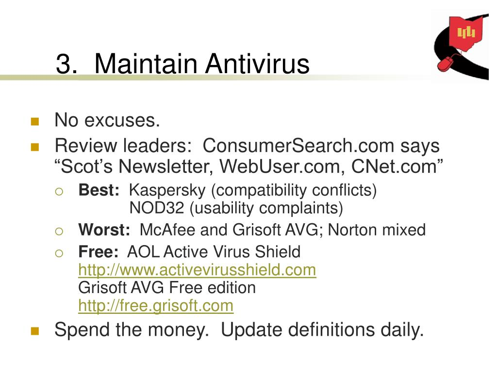 3.  Maintain Antivirus