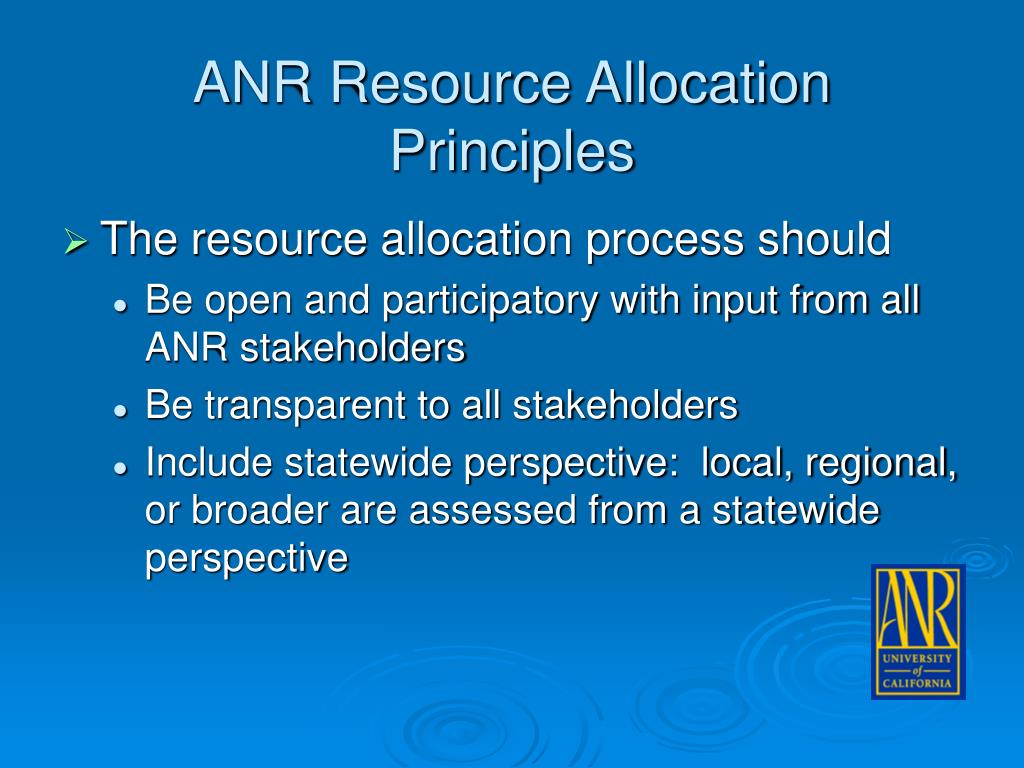 ANR Resource Allocation Principles