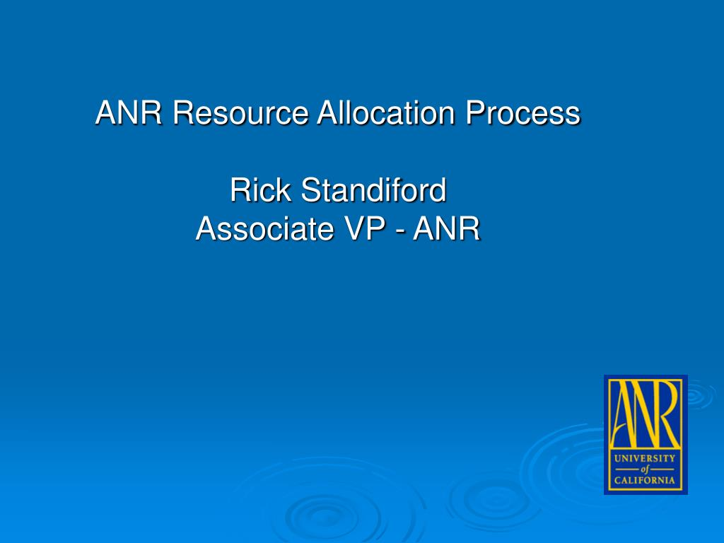 ANR Resource Allocation Process