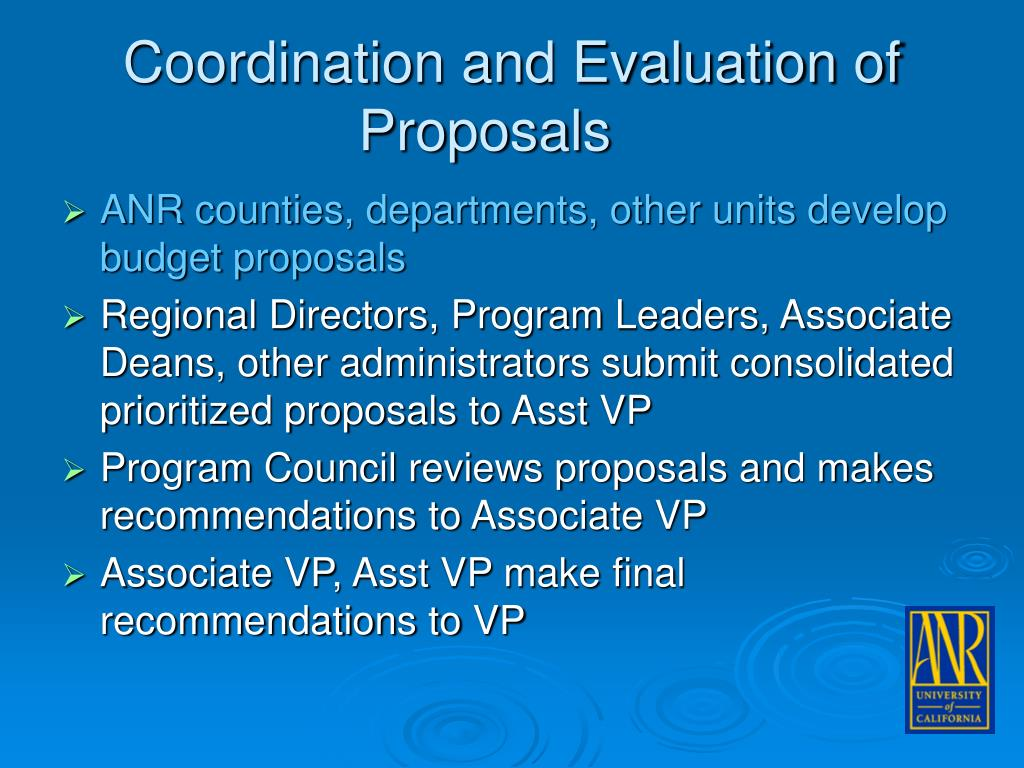 Coordination and Evaluation of Proposals