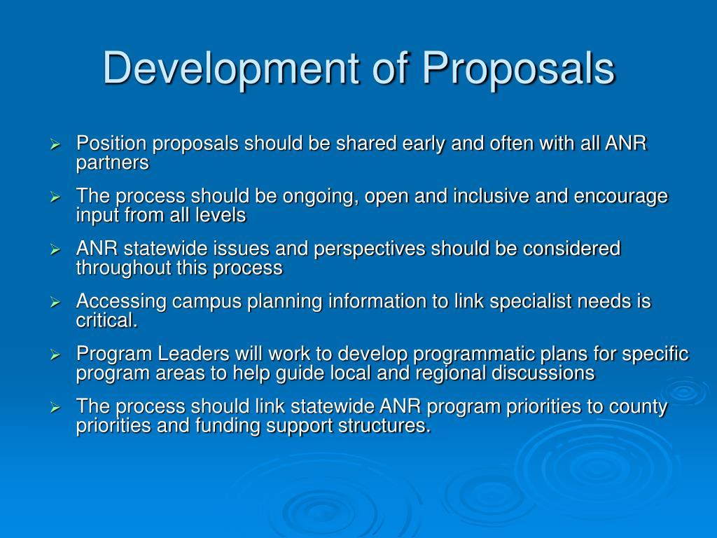 Development of Proposals