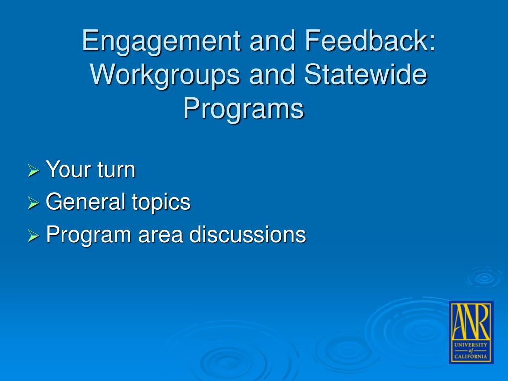 Engagement and Feedback:  Workgroups and Statewide Programs