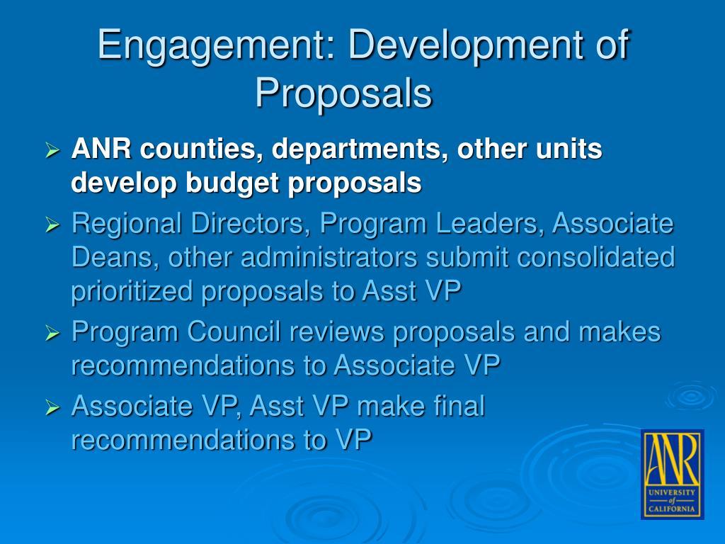 Engagement: Development of Proposals
