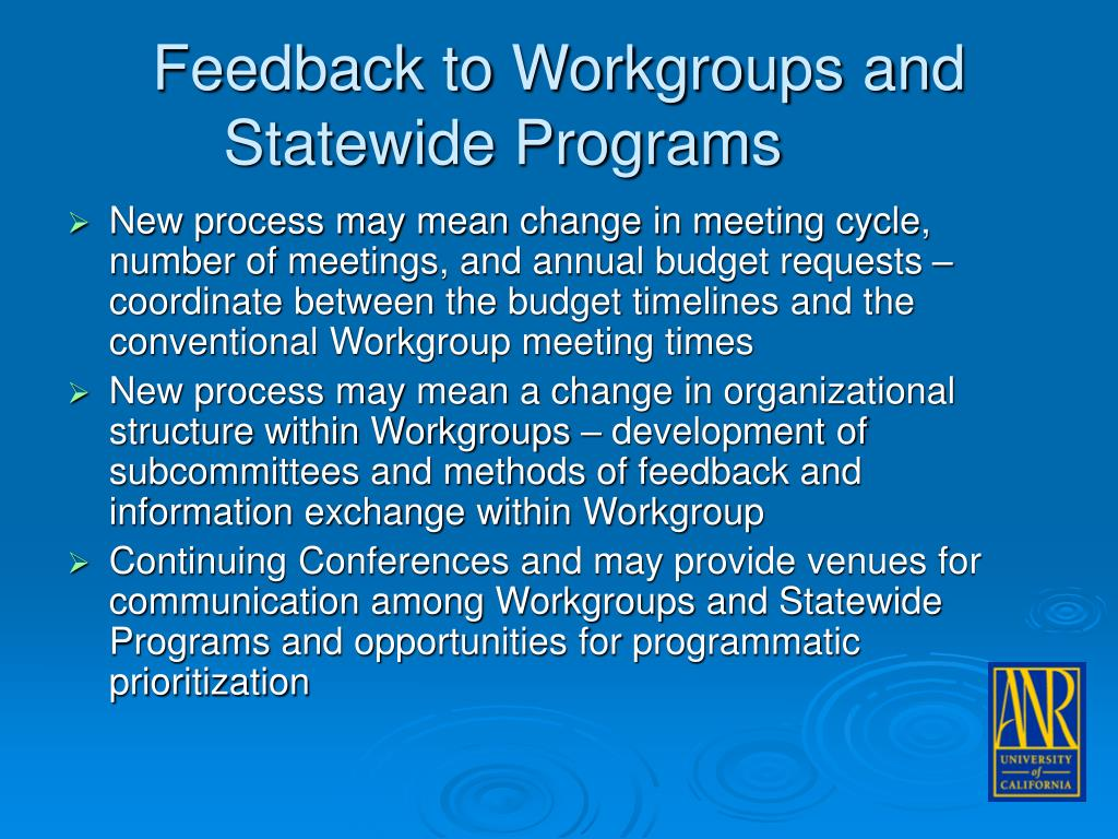 Feedback to Workgroups and Statewide Programs