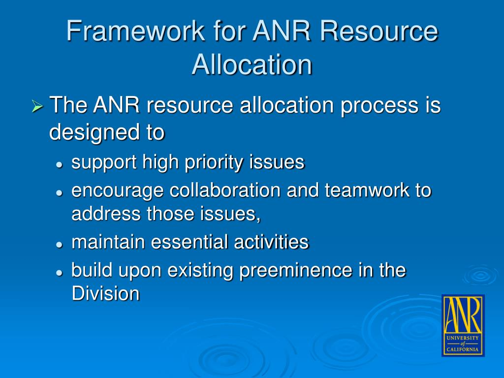 Framework for ANR Resource Allocation
