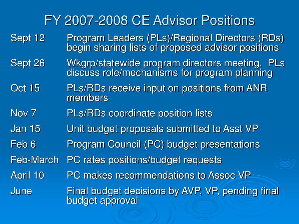 FY 2007-2008 CE Advisor Positions