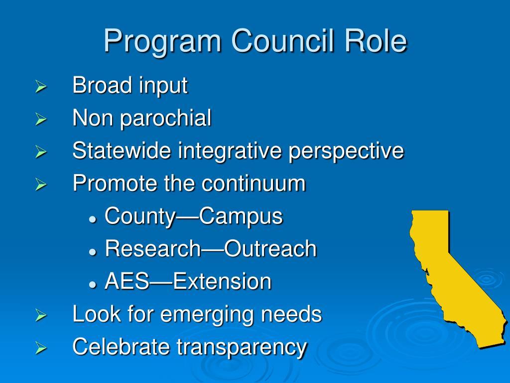 Program Council Role