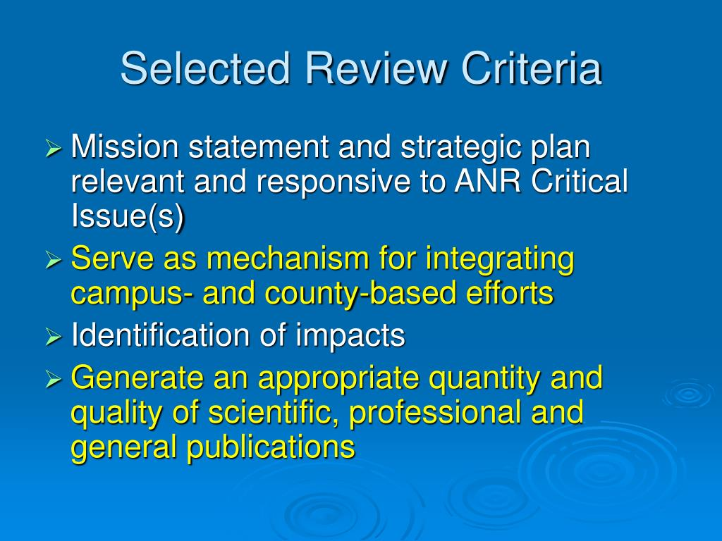 Selected Review Criteria
