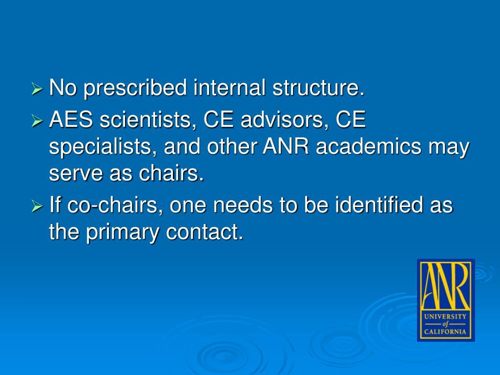 No prescribed internal structure.