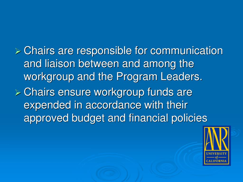 Chairs are responsible for communication and liaison between and among the workgroup and the Program Leaders.