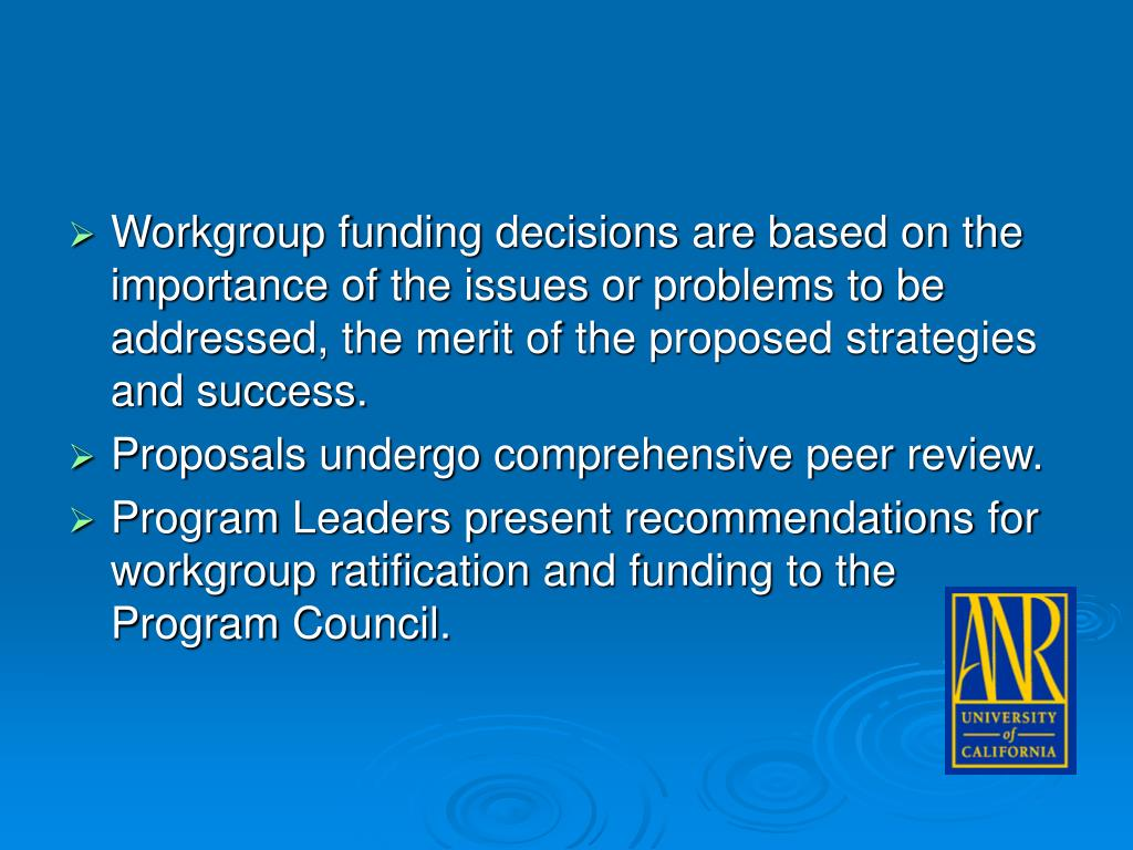 Workgroup funding decisions are based on the importance of the issues or problems to be addressed, the merit of the proposed strategies and success.