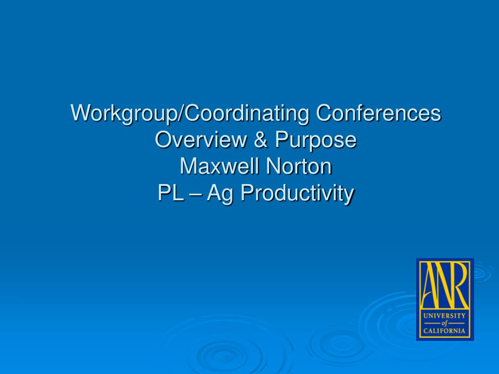 Workgroup/Coordinating Conferences Overview & Purpose