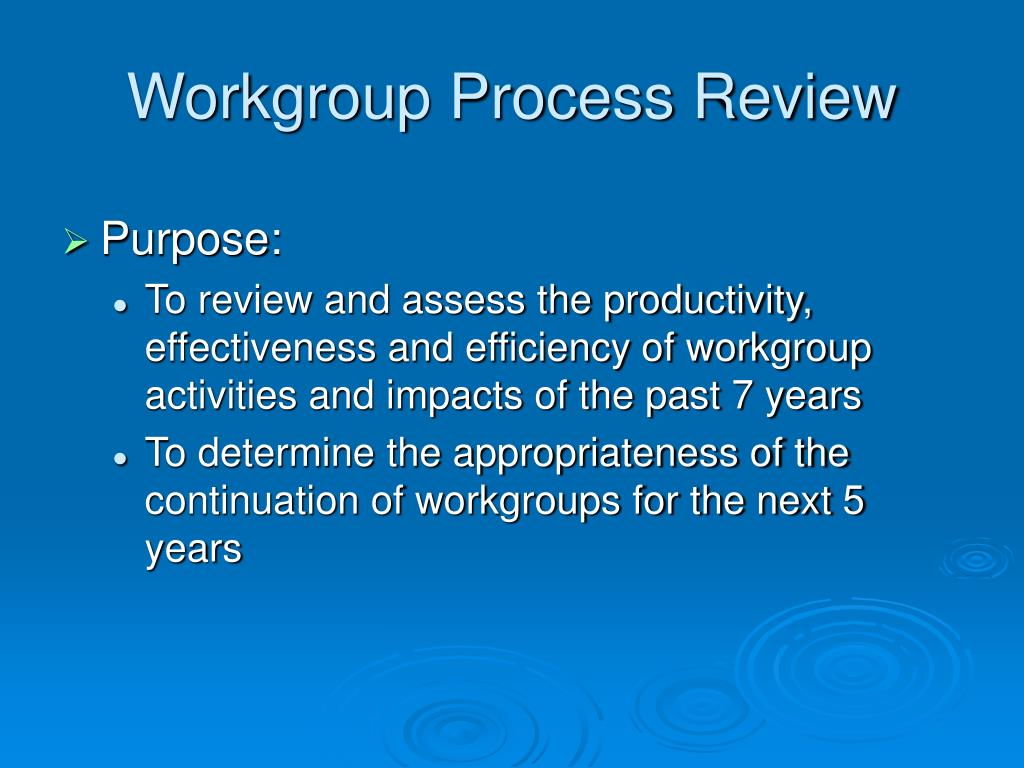 Workgroup Process Review