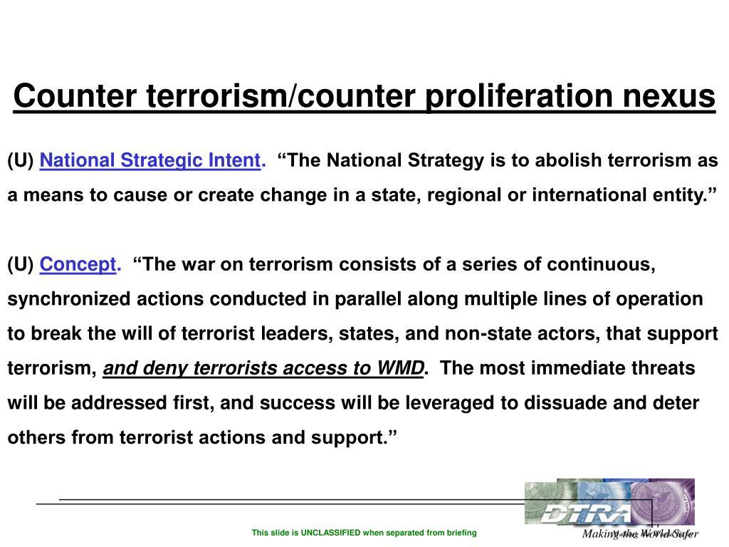 Counter terrorism/counter proliferation nexus