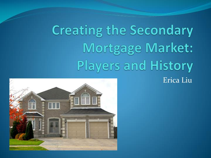 Creating the secondary mortgage market players and history l.jpg
