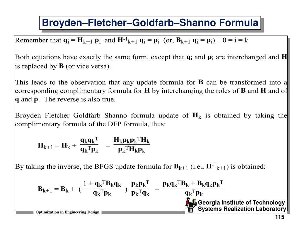 Broyden–Fletcher–Goldfarb–Shanno Formula
