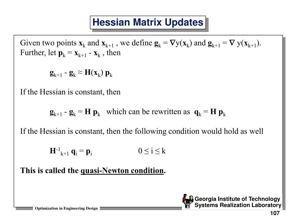 Hessian Matrix Updates