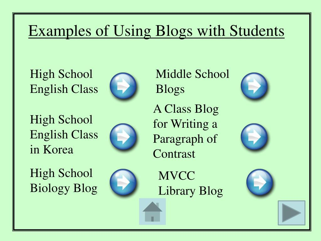 Examples of Using Blogs with Students