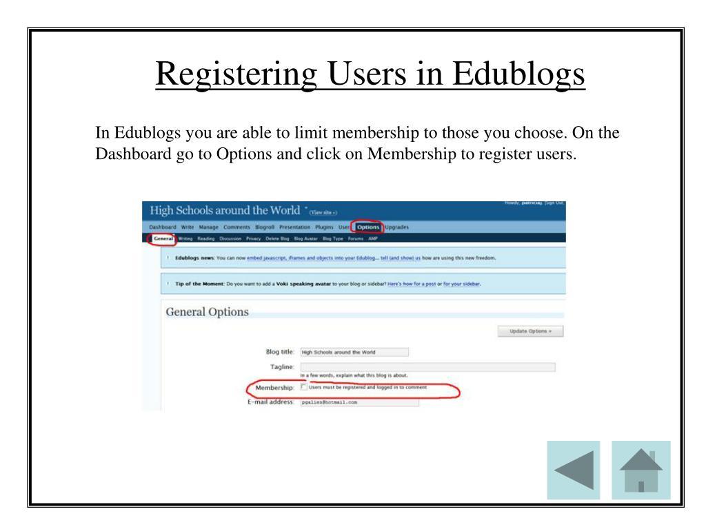 Registering Users in Edublogs
