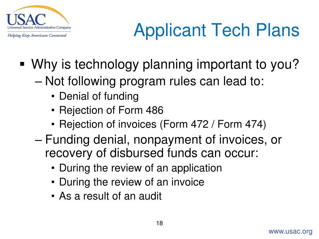 Applicant Tech Plans
