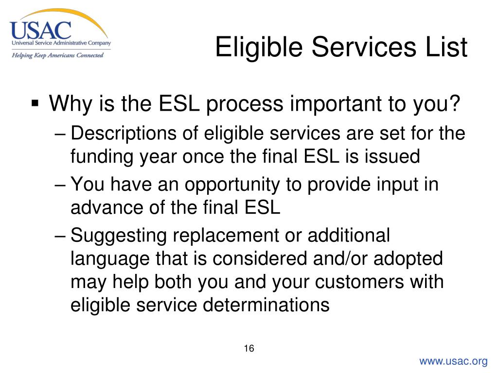 Eligible Services List