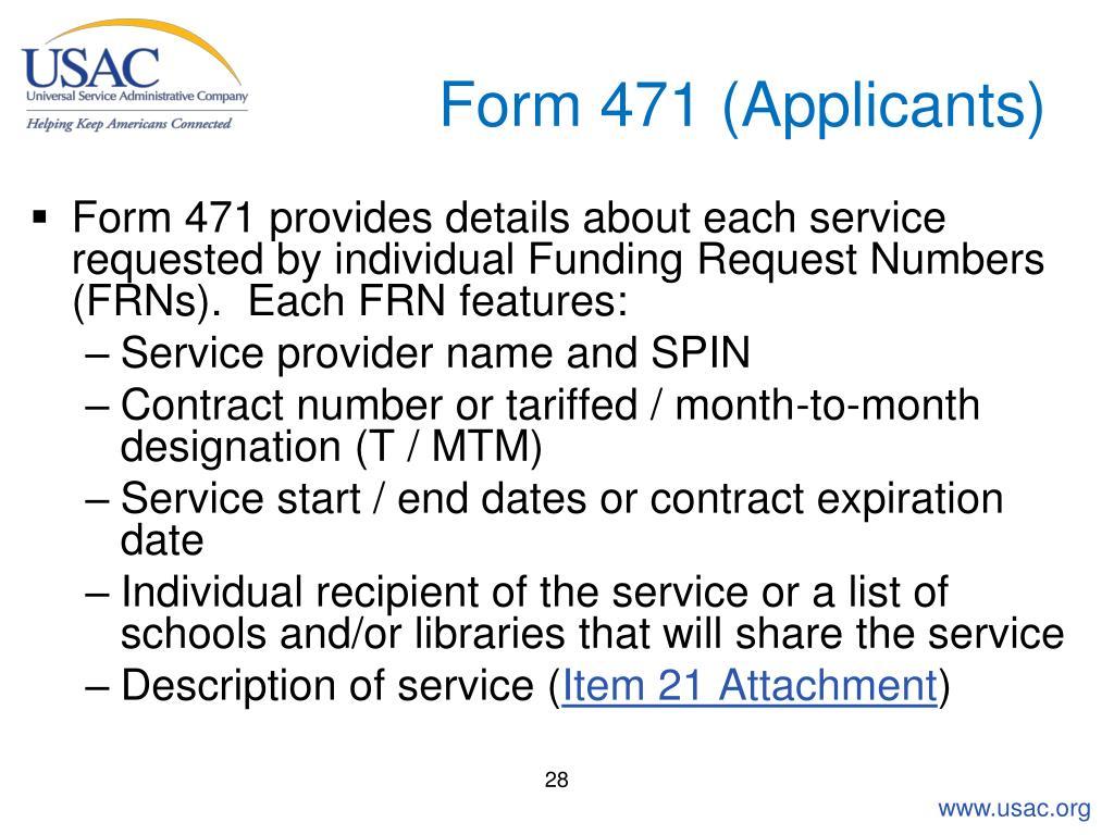 Form 471 (Applicants)