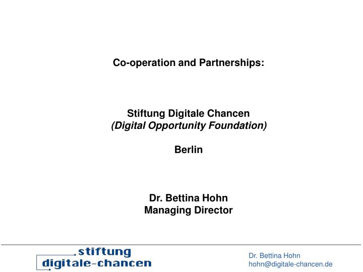 Co-operation and Partnerships:
