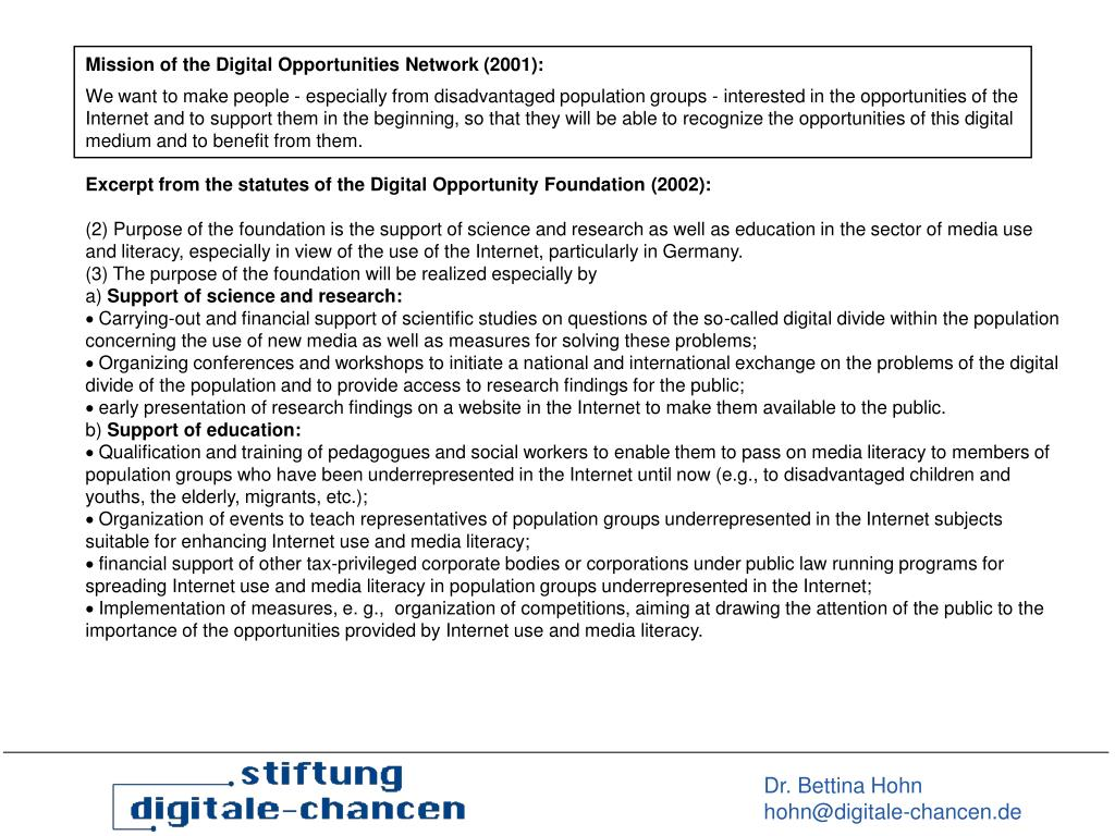 Mission of the Digital Opportunities Network (2001):