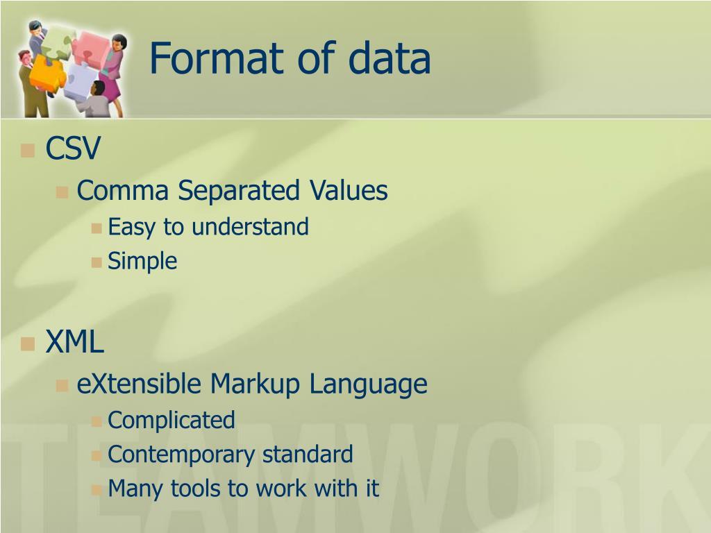 Format of data
