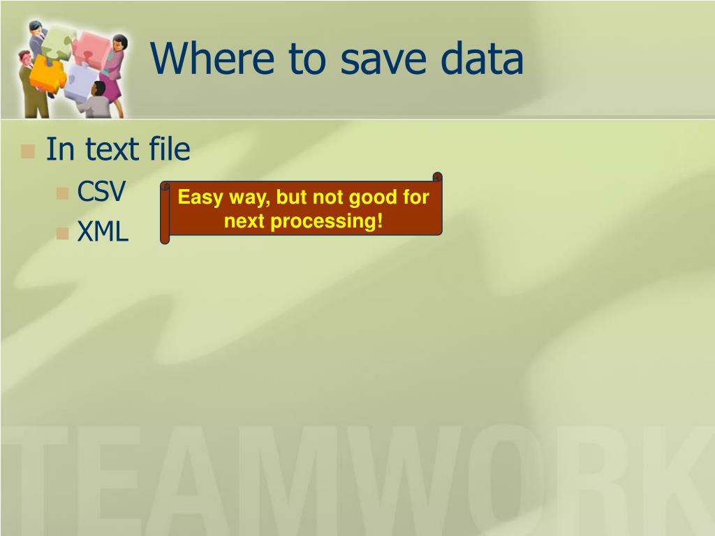 Where to save data