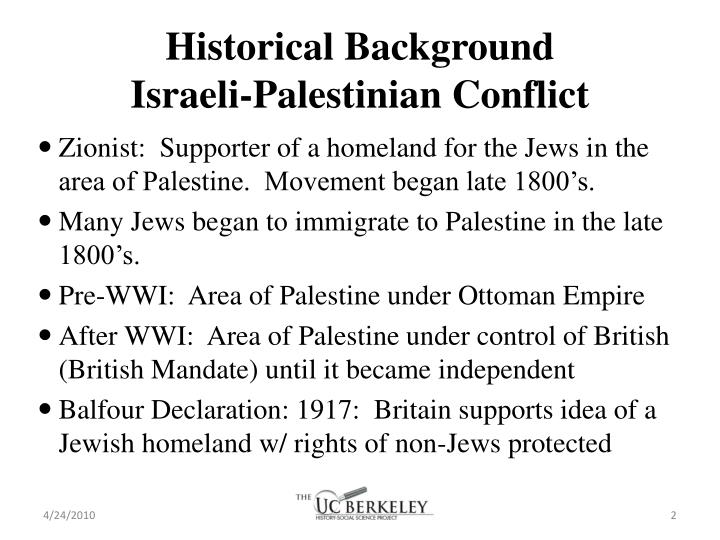 Historical background israeli palestinian conflict