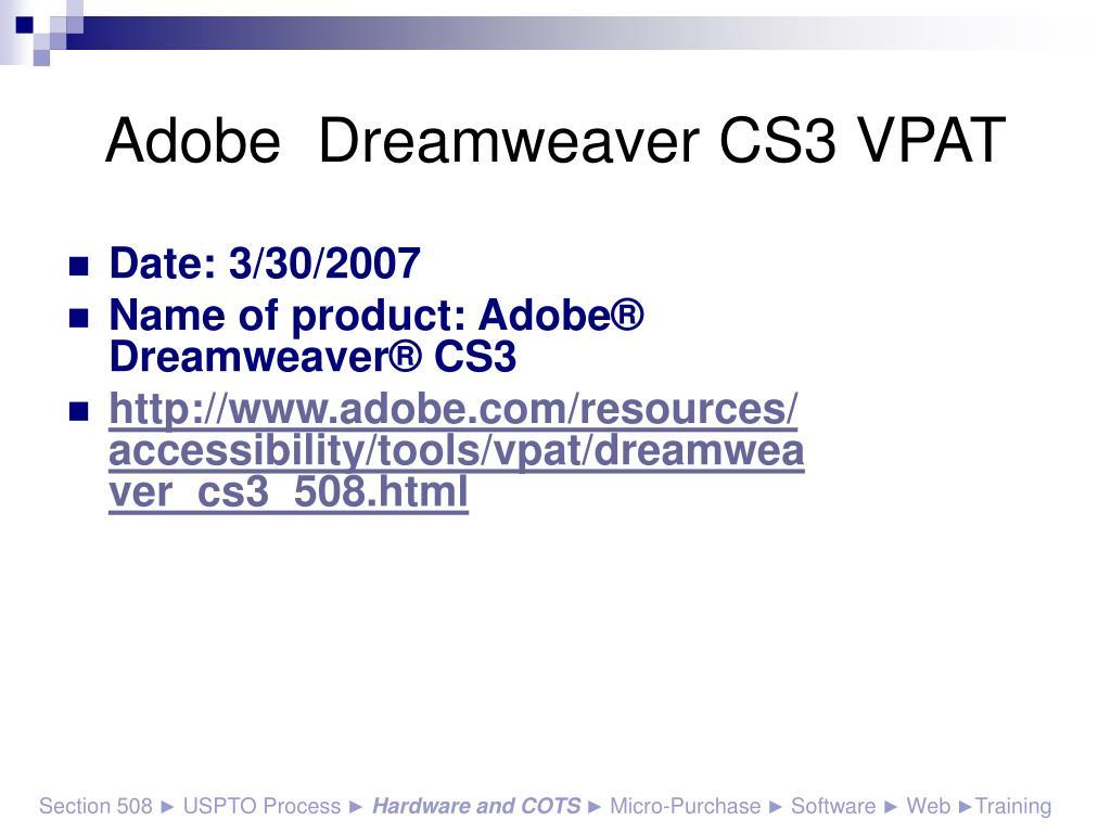 Adobe  Dreamweaver CS3 VPAT