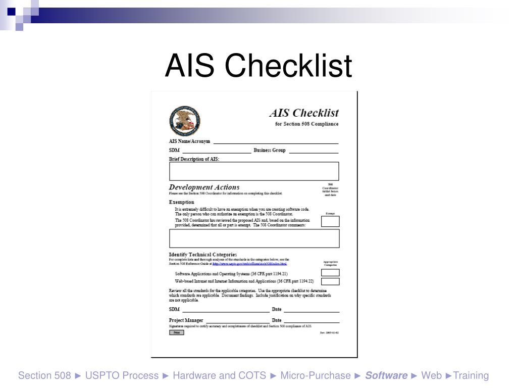 AIS Checklist